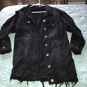 Long Black Jean Jacket (Distressed Style)